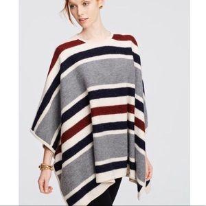 Ann Taylor Striped Merino Wool Blanket Poncho M/L